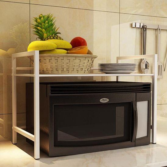 家用微波爐置物架調味品廚房用具收納架烤箱架儲物架2層落地支架
