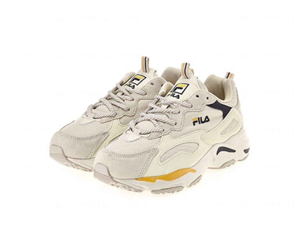 KUMO SHOES-現貨FILA RAY TRACER 黃藍 米色 復古 老爹鞋 老爸鞋 休閒鞋 FS1SIB1461X