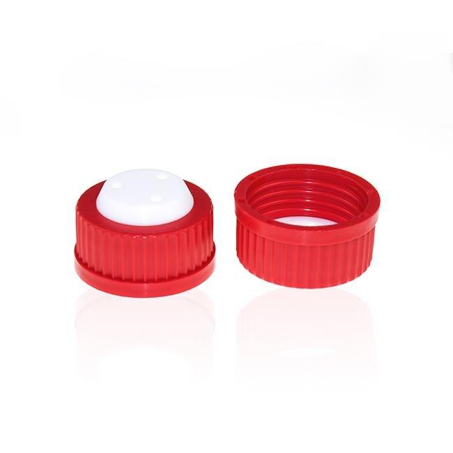 《實驗室耗材專賣》ALWSCI GL-45 流動相蓋 紅色 3孔 外螺紋英制1/4-28 內徑1/8inch接頭 實驗儀器 塑膠製品