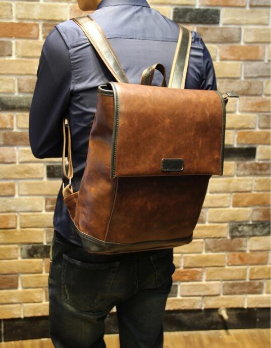 FINDSENSE Z1 韓國 時尚 潮 男 皮質 大容量 休閒 旅行包 電腦包 學生包 書包 後背包 雙肩包