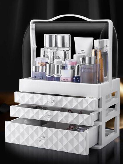 網紅化妝品收納盒防塵壓克力桌面化妝盒大梳妝臺護膚品口紅置物架