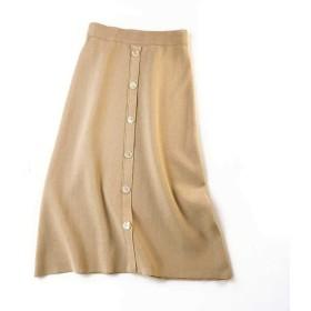 Sanxin スカート 女子は 秋冬カジュアルスタイルには ニットロングスカート (C-アプリコット)