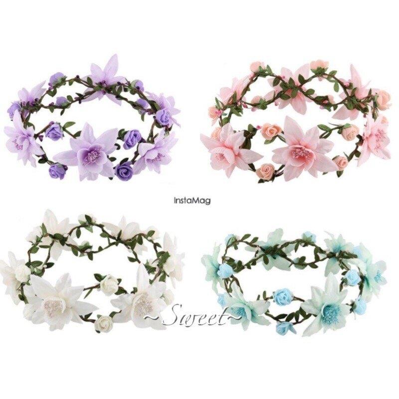 韓系百合藤蔓外拍四色花圈 外拍 花圈 婚禮 新娘飾品