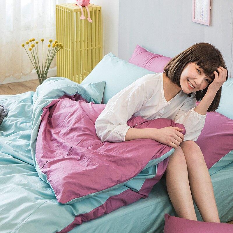 床包/ 雙人特大-100%精梳棉【撞色系列-水水綠】含兩件枕套 經典素色 戀家小舖 台灣製 消費滿3千送點數10% 母親節推薦