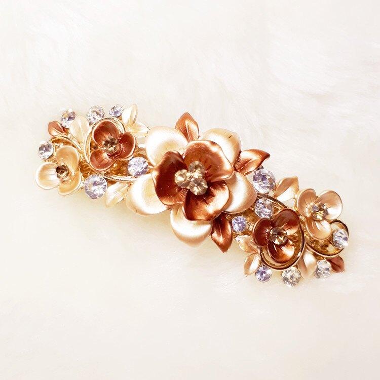 花朵水鑽彈簧夾-- 咖啡色款 DB0017-2   日韓/飾品/髮飾/合金彈簧夾/頂夾/馬尾夾/髮夾/頭飾/王子與公主