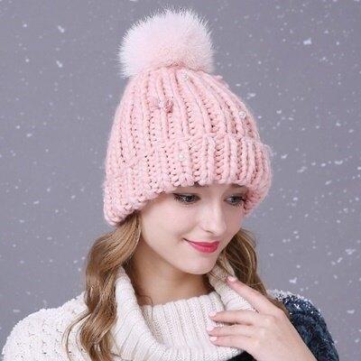 毛帽針織羊毛帽-韓版加厚淑女知性風女帽子色2色73id39【獨家進口】【米蘭精品】