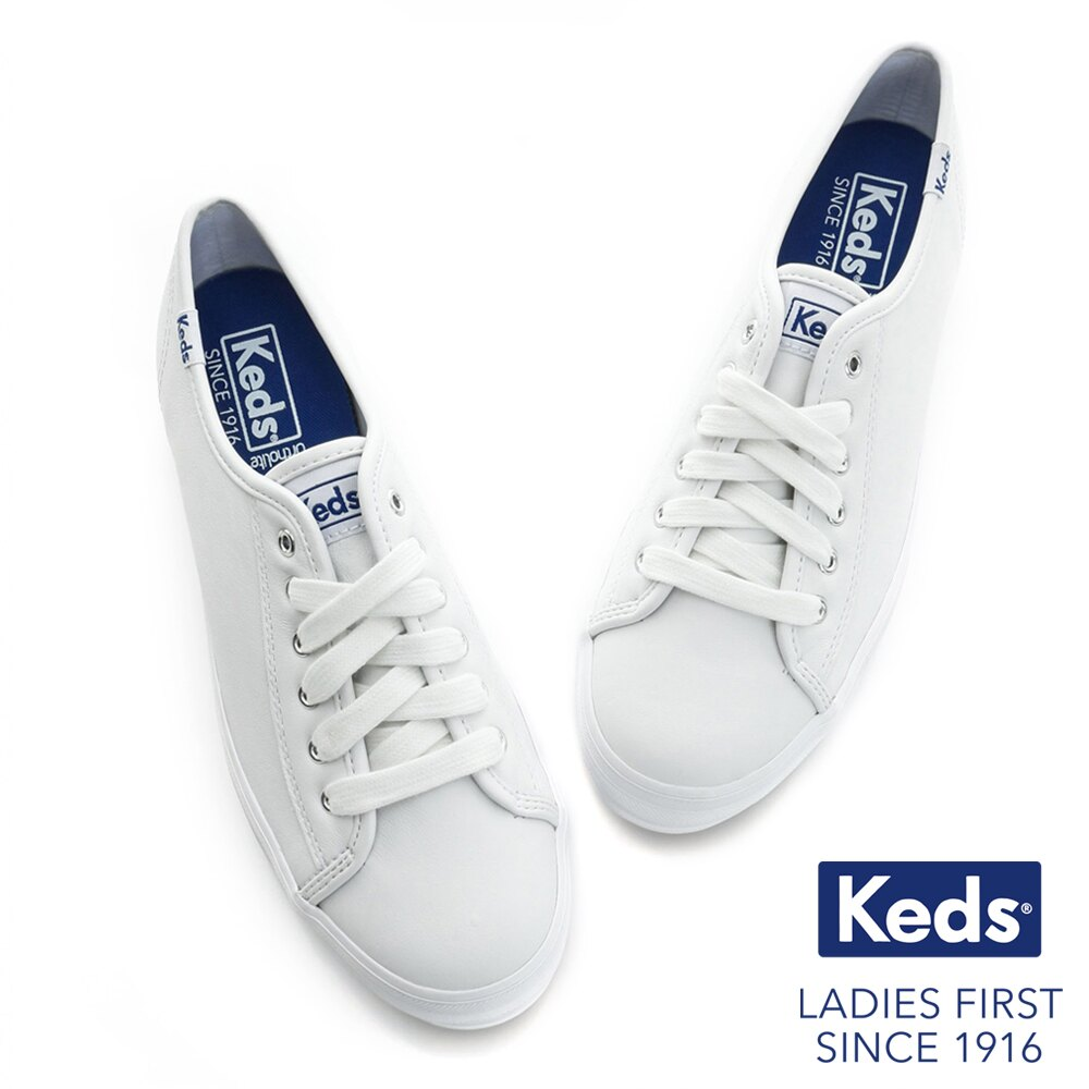 KEDS 173W132224 經典厚底皮革綁帶休閒鞋小白鞋 TRIPLE KICK系列 / 白