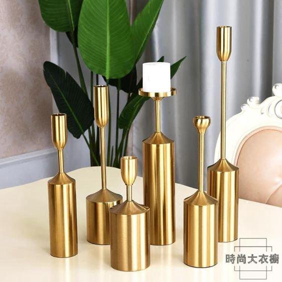 飾品金屬三件套蠟燭臺現代歐式美式奢華餐桌裝飾