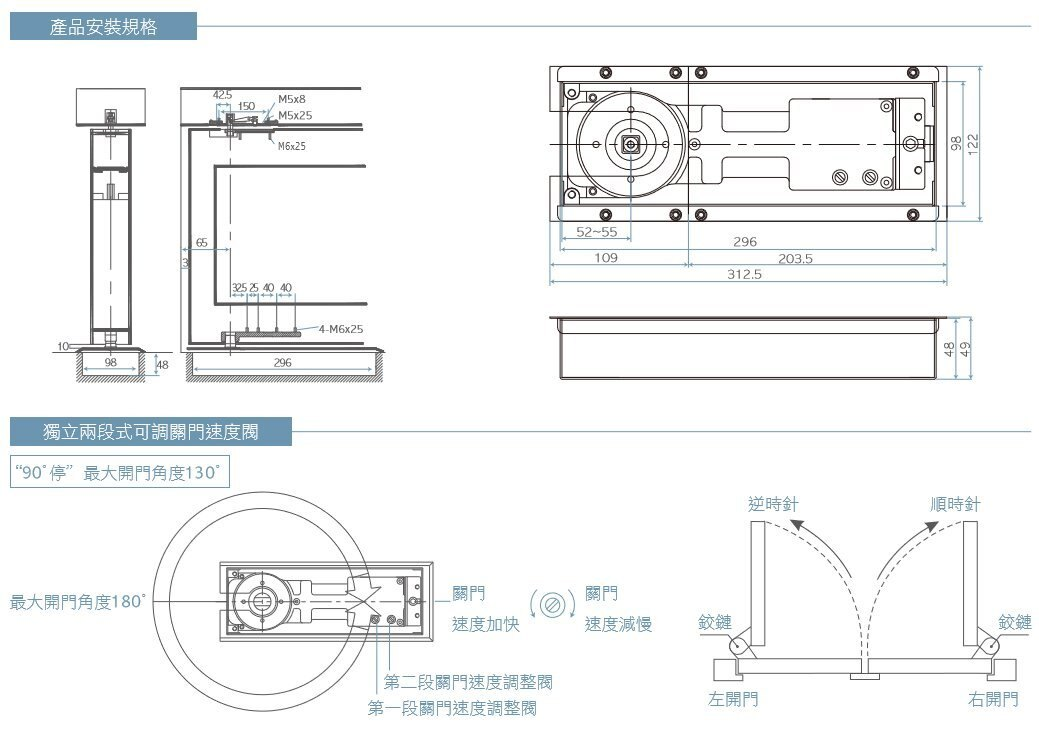 防火級加安地鉸鍊 FB724 偏心有檔右斜(二截式面板) 適用門扇1050*2400以內 最大門重150KG