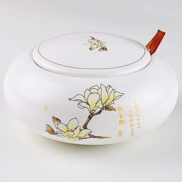 梅嶺窯 陶瓷茶葉罐 密封存茶罐 儲物罐糖罐 玉蘭花茶罐(圖一)