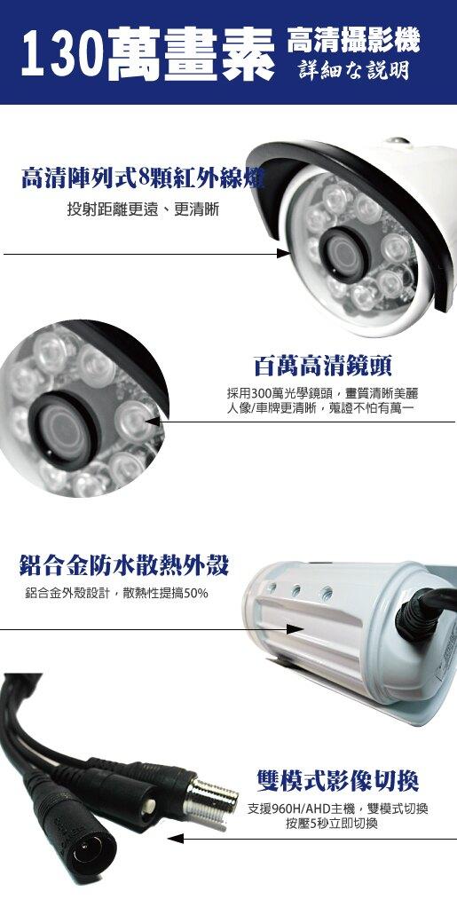 台南監視器/百萬畫素1080P主機 AHD/到府安裝/4ch監視器/130萬攝影機960P*3支 台灣製造(標準安裝)