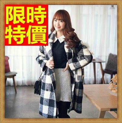 ☆毛呢外套 女大衣-羊毛美麗諾翻領長版格子女外套2色63ae2【韓國進口】【米蘭精品】