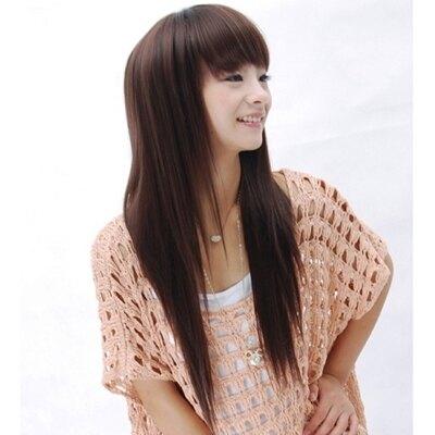 假髮整頂假髮長假髮-時尚氣質直髮齊瀏海女配件2色73em88【獨家進口】【米蘭精品】