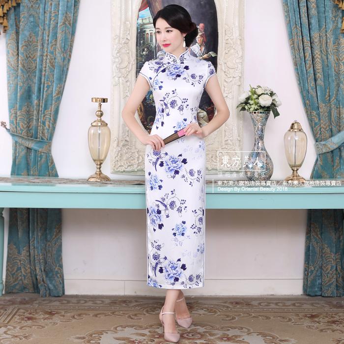 東方美人旗袍唐裝專賣店 C0184。仿絲軟緞時尚印花半月包袖長旗袍
