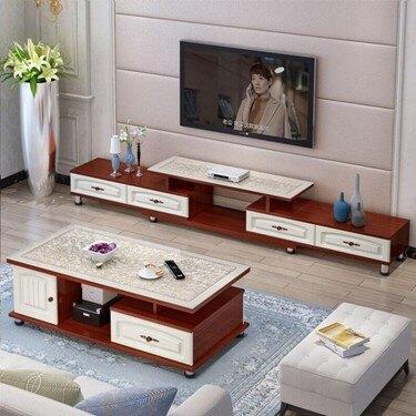 電視櫃電視桌 電視柜茶幾組合歐式現代簡約小戶型鋼化玻璃茶幾臥室伸縮電視機柜     伊卡萊生活館  聖誕節禮物