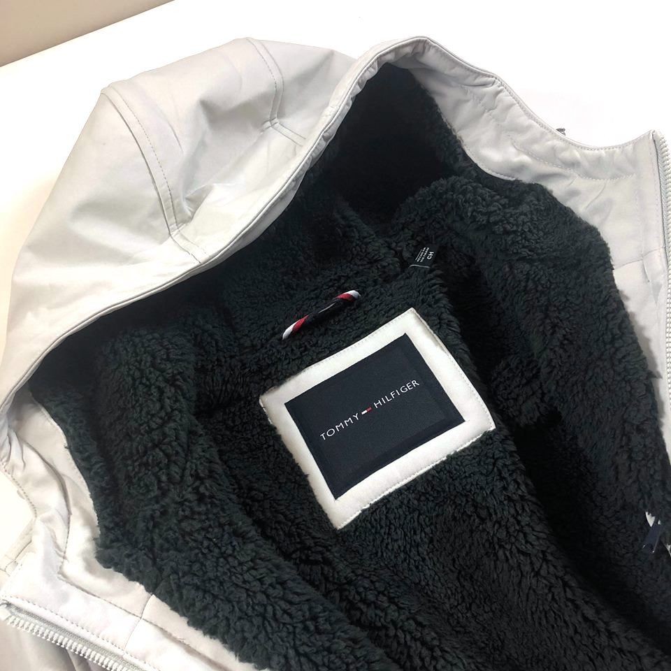 美國百分百【全新真品】Tommy Hilfiger 外套 TH 夾克 連帽 刷毛 風衣 防風 淺灰 男 S/M J708