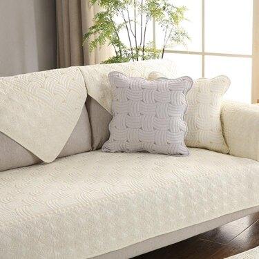 全棉沙發墊布藝純棉四季坐墊簡約現代組合實木沙發套罩靠背巾訂做  聖誕節禮物