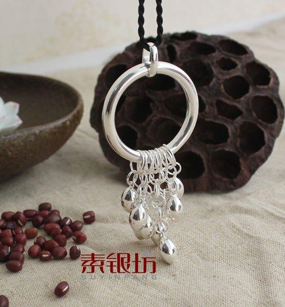 手工純銀飾品925流蘇銀豆吊墜項鏈