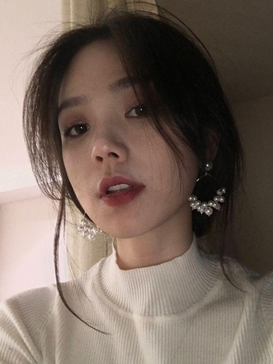 溜過日光顯臉瘦的鏤空幾何耳釘女韓國百搭簡約氣質珍珠耳環E089