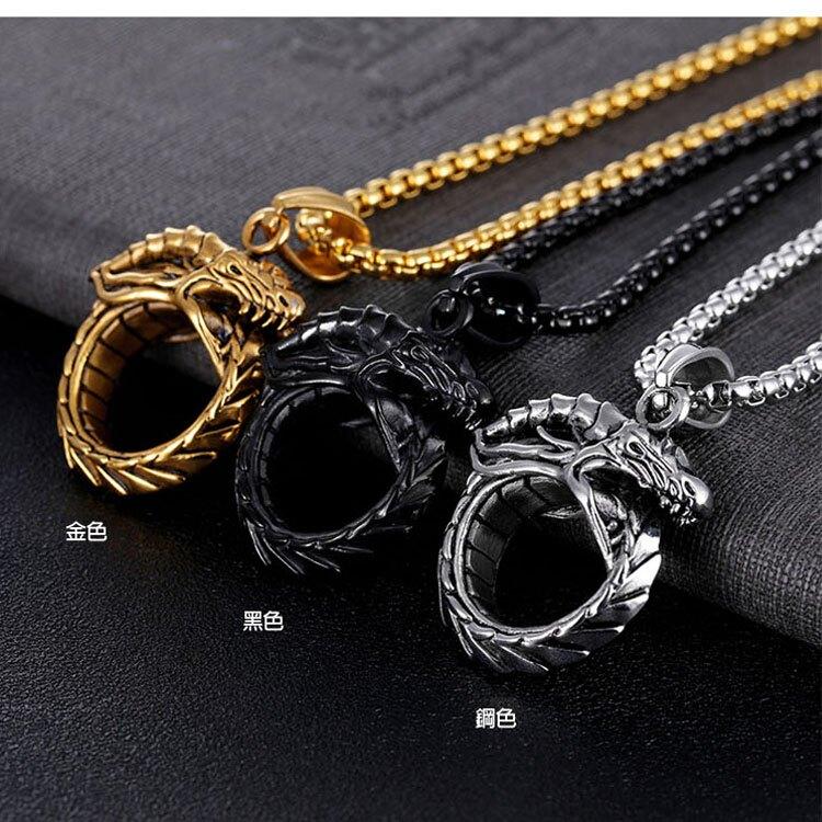【5折超值價】經典復古龍紋造型男款鈦鋼項鍊