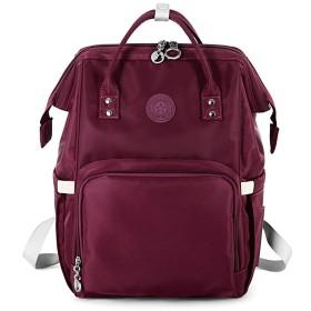 多機能のおむつ袋、ベビーケア、大容量、スタイリッシュで耐久性のあるミントグリーン(270mmx200mmx420mm)のための防水旅行のバックパックおむつ袋、 (色 : Dark red)