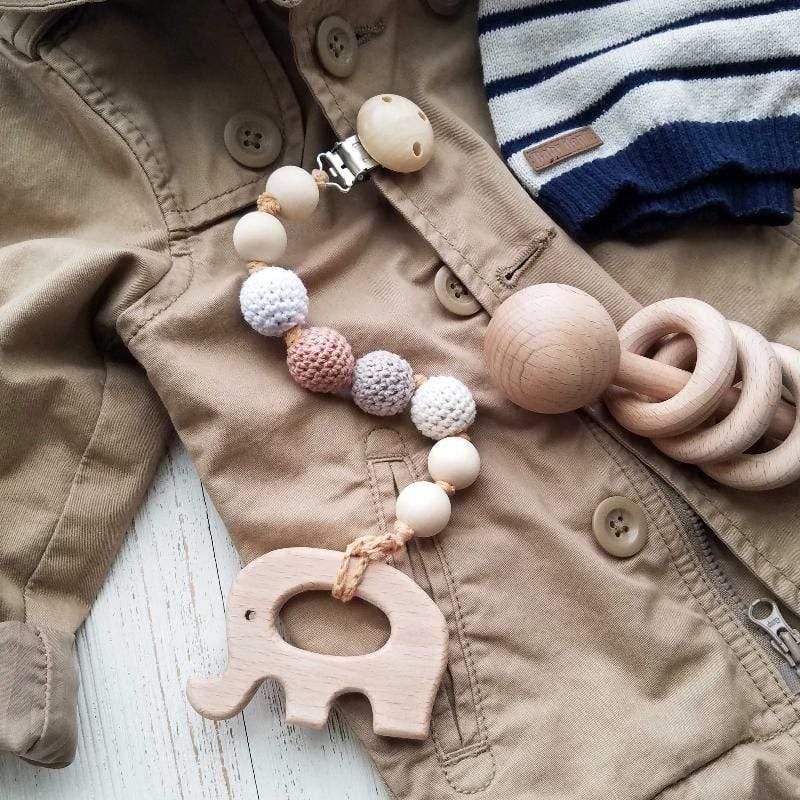 天然原木 手工 嬰幼兒有機棉奶嘴鏈+原木固齒器動物造型 薰衣草紫色_鴿子