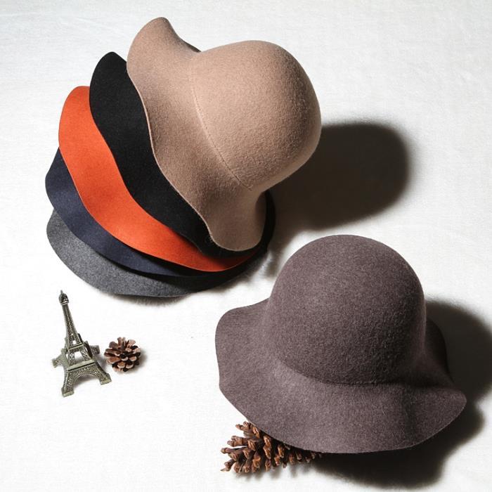 韓版復古百搭毛呢盆帽光身圓頂羊毛小禮帽漁夫帽波浪邊帽子女