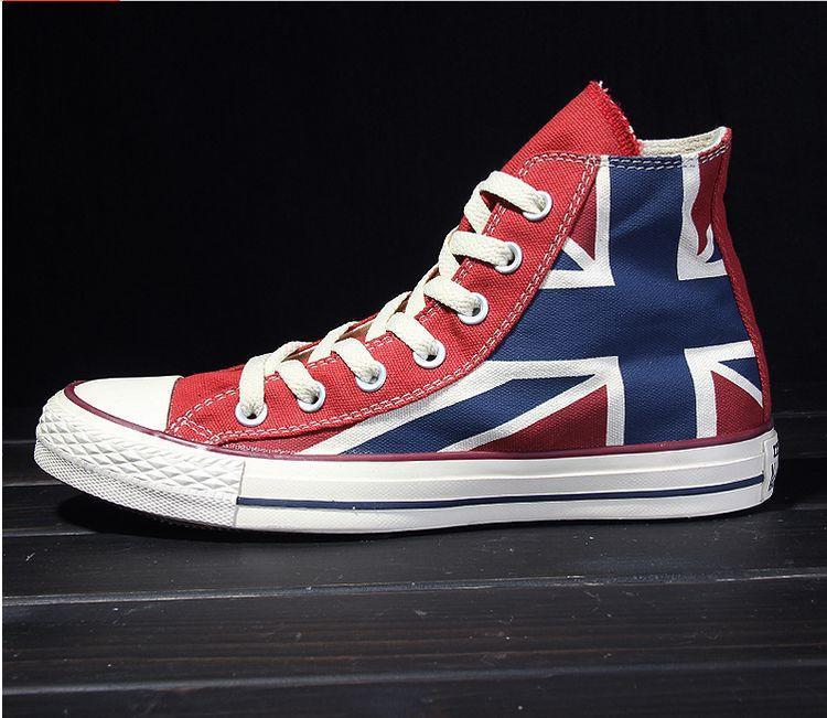匡威帆布鞋男女情侶鞋復古經典款英國國旗紅色高幫低幫板鞋運動鞋