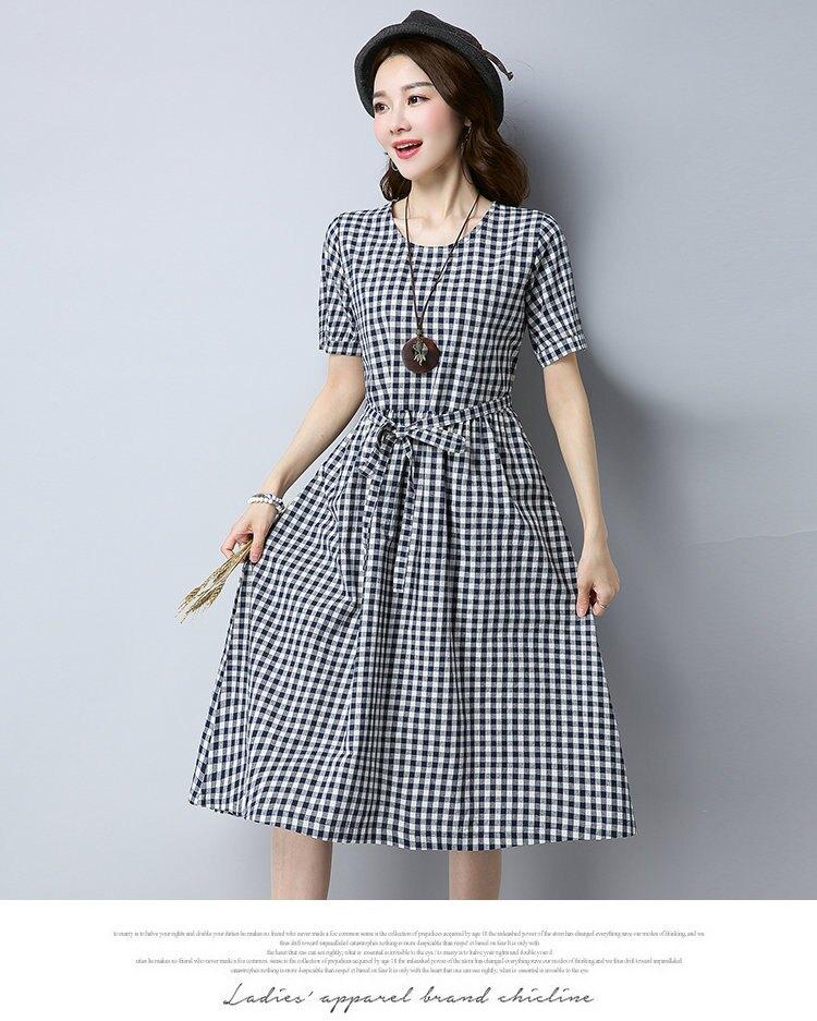 FINDSENSE G5 韓國時尚 夏季 復古 文藝 寬鬆 棉麻 短袖 格子 連身裙