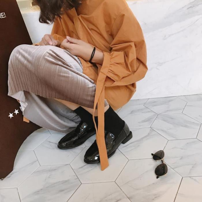 英倫皮鞋 英倫風女鞋黑色小皮鞋女生秋季潮百搭正韓學院風軟妹圓頭單鞋