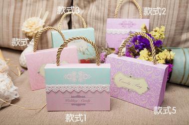 【婚禮回禮贈品-喜糖盒-蕾絲/鑽石款-中號11*4.5*8CM-50個/組】喜糖盒創意糖盒袋喜糖袋-726001