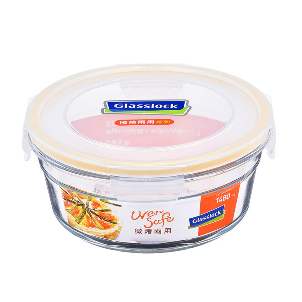 Glasslock 微烤兩用強化玻璃保鮮盒 - 圓形1480ml/韓國製造/可微波/烤箱烘焙使用/耐瞬間溫差160度