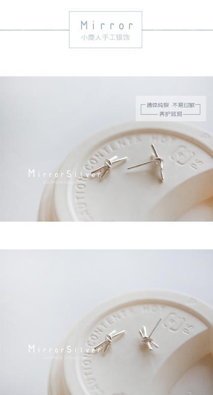 打結造型蝴蝶結創意式耳釘S925純銀養耳洞百搭簡約 士