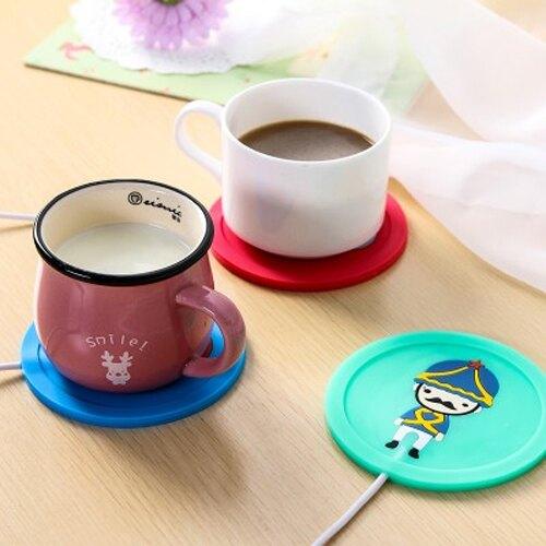 【超取399免運】USB卡通士兵矽膠加熱杯墊 辦公室恆溫暖杯墊 防滑保溫碟