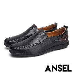 【Ansel】真皮舒適軟底手工縫線紳士樂福鞋 黑