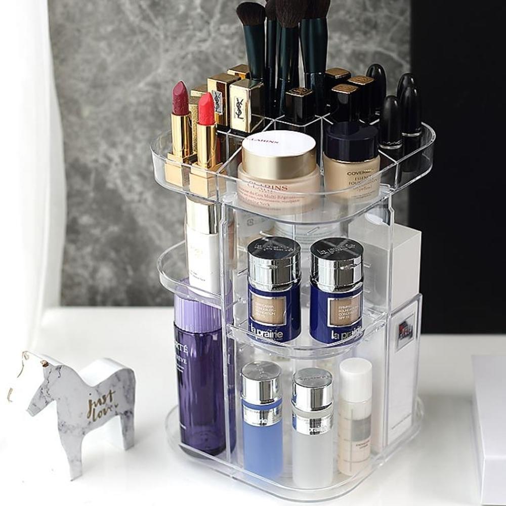 旋轉透明亞克力化妝品收納盒桌面置物架