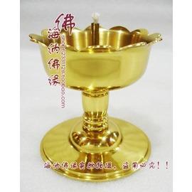佛教用品佛具 純銅油燈 酥油燈 供佛燈佛燈 財神燈 蓮花邊銅油燈