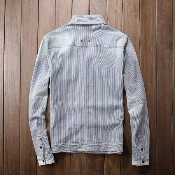 男士豎條紋洗水做舊復古多袋薄款柔軟牛仔夾克外套潮1入