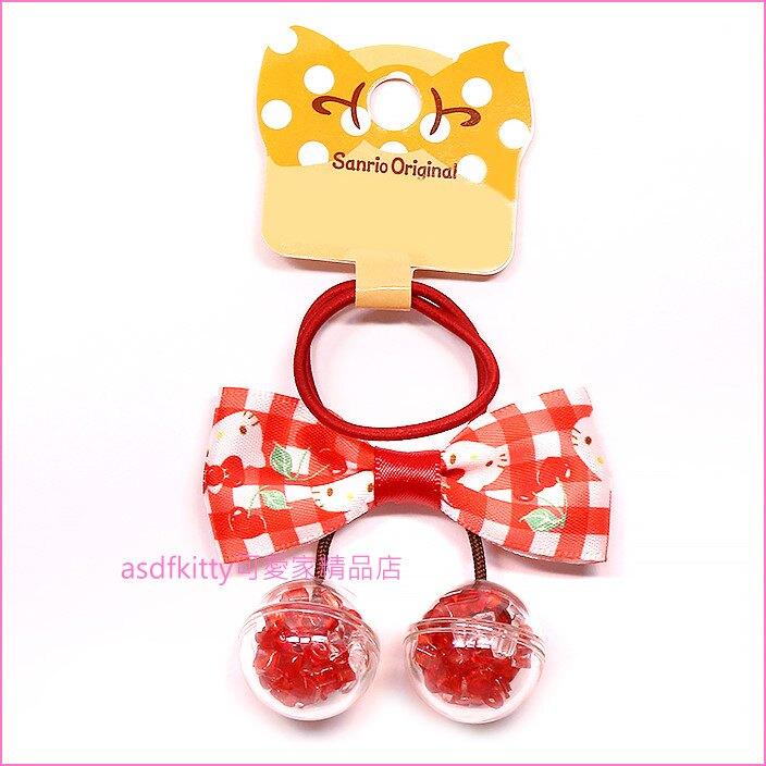 asdfkitty可愛家☆KITTY蝴蝶結櫻桃造型髮束/髮飾/彈性髮圈-日本正版商品