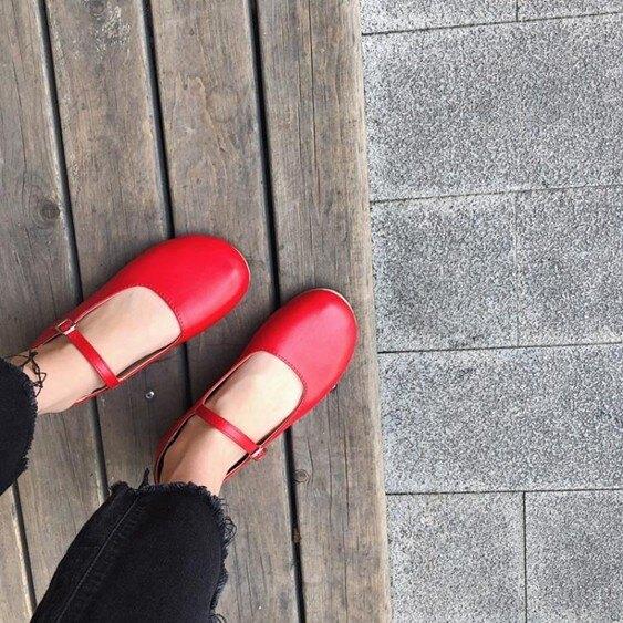 娃娃鞋2019韓繫chic單鞋可愛娃娃鞋顯瘦早春一字扣平底單鞋小皮鞋女  萬事屋  聖誕節禮物