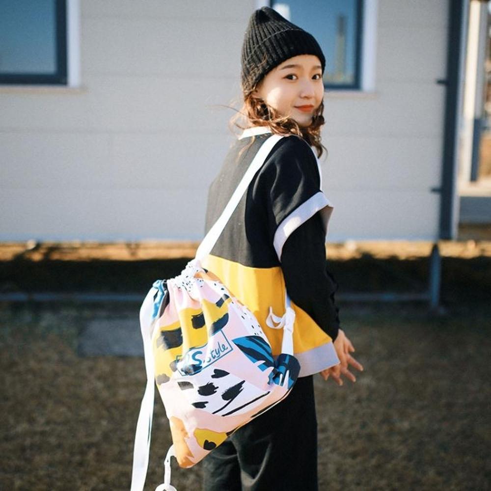 束口袋 旅行涂鴉創意情侶抽繩束口雙肩包帆布包  瑪麗蘇