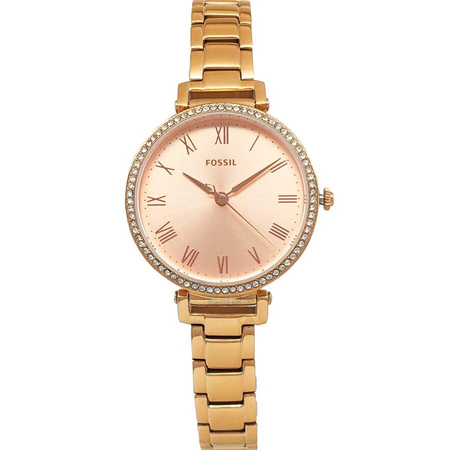 FOSSIL 手錶 ES4447 閃耀晶鑽玫瑰金 羅馬時標 鋼帶 薄型女錶【錶飾精品】