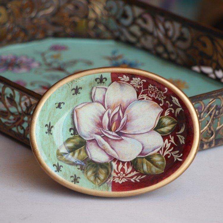 創意家居美式陶瓷彩繪肥皂盒美容院賓館歐式衛生間肥皂碟香皂托  居家物語
