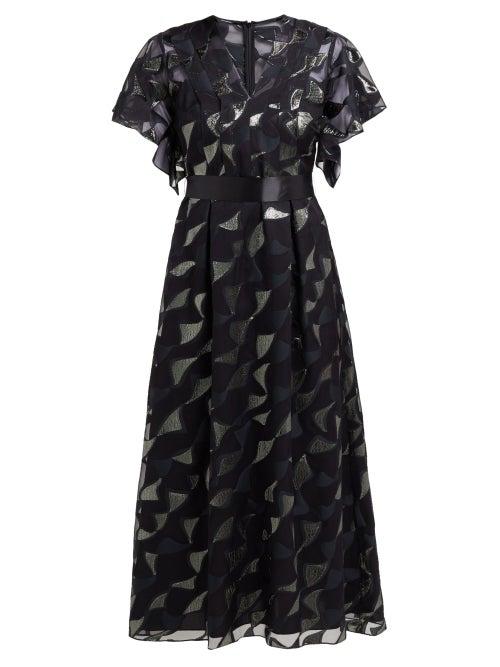 Goat - Evangelina Tie-waist Fil-coupé Dress - Womens - Black Multi
