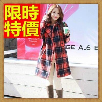 毛呢外套 女大衣-羊毛美麗諾翻領中長版格子女外套63ae5【韓國進口】【米蘭精品】