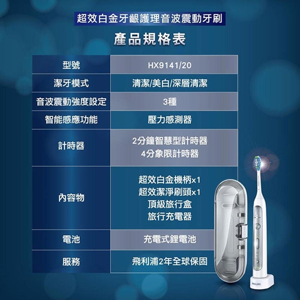 《超值包裝款+贈專用掛架!》Philips Sonicare HX9141 飛利浦 白金款 音波震動 電動牙刷 (HX6877可參考)