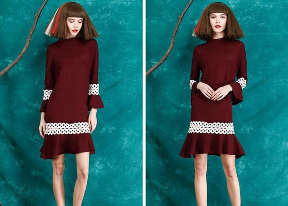 毛衣裙   惑色打底連衣裙韓版喇叭袖修身針織裙包臀魚尾毛衣裙  瑪麗蘇