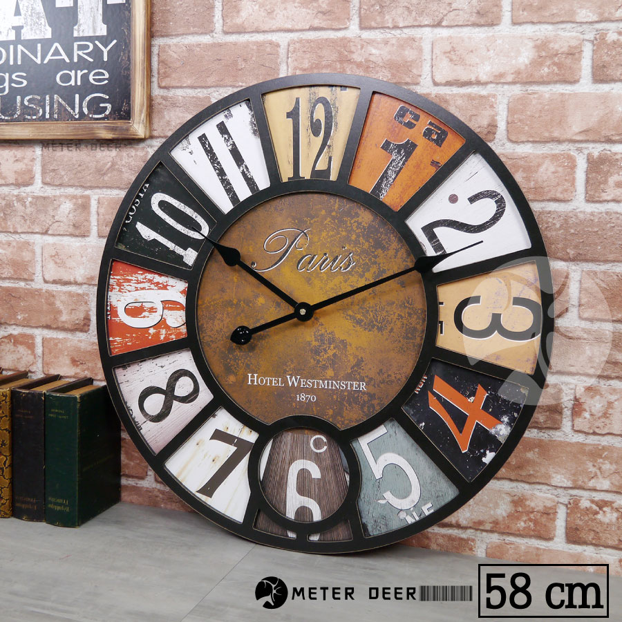 英倫風 大型 時鐘 LOFT 復古流行 工業風 歐式 立體 木質 靜音 掛鐘 牆面裝飾 品味 掛畫 古典 時鐘