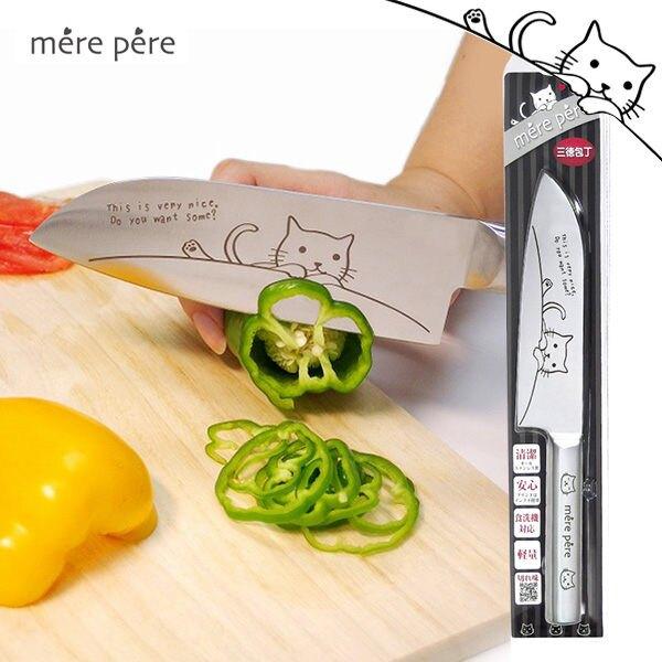 [超值組合]日本製 mere pere 貓咪檜木砧板(小)+貓咪三德刀(中)