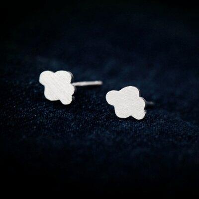 925純銀耳環耳針式耳飾-清新雲朵雨傘造型生日情人節禮物女飾品73dr130【獨家進口】【米蘭精品】